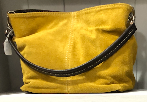 Leather Suede Handbag-Mustard - Little Gems Interiors
