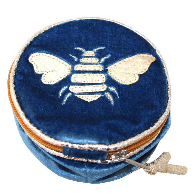 LUA Gold Bee Round Jewellery Purse - various colours