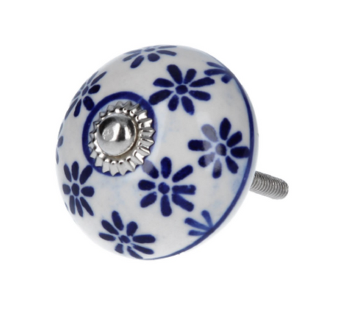 Door Knob - Ceramic White/Blue Daisies - Little Gems Interiors
