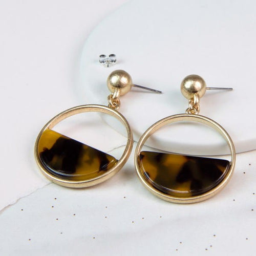 Worn Gold Semi-Circle Acrylic Disc Earrings - Little Gems Interiors
