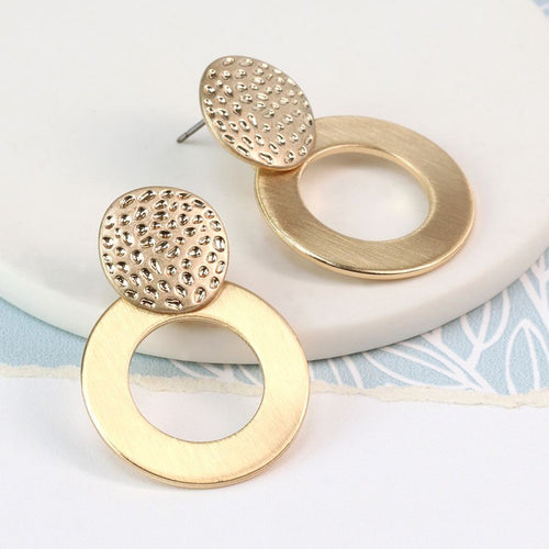 Gold plated marked disc and worn hoop earrings - Little Gems Interiors