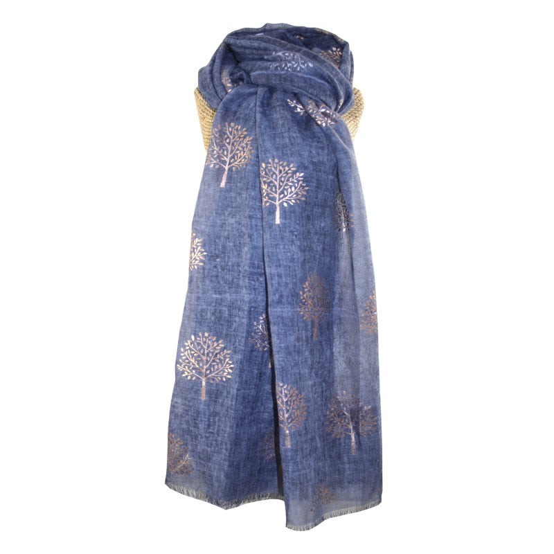 LUA Rose Gold Mulberry Foil Trees Scarf - various colours