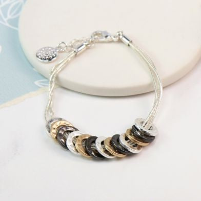 Mixed finish multi hoop triple strand bracelet - Little Gems Interiors
