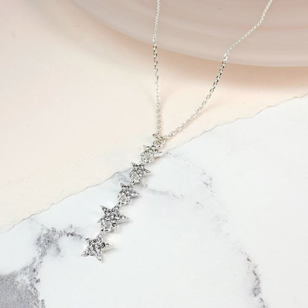 Silver plated multi star drop necklace with crystals