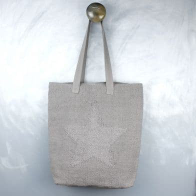 Grey Star Cotton Bag - Little Gems Interiors