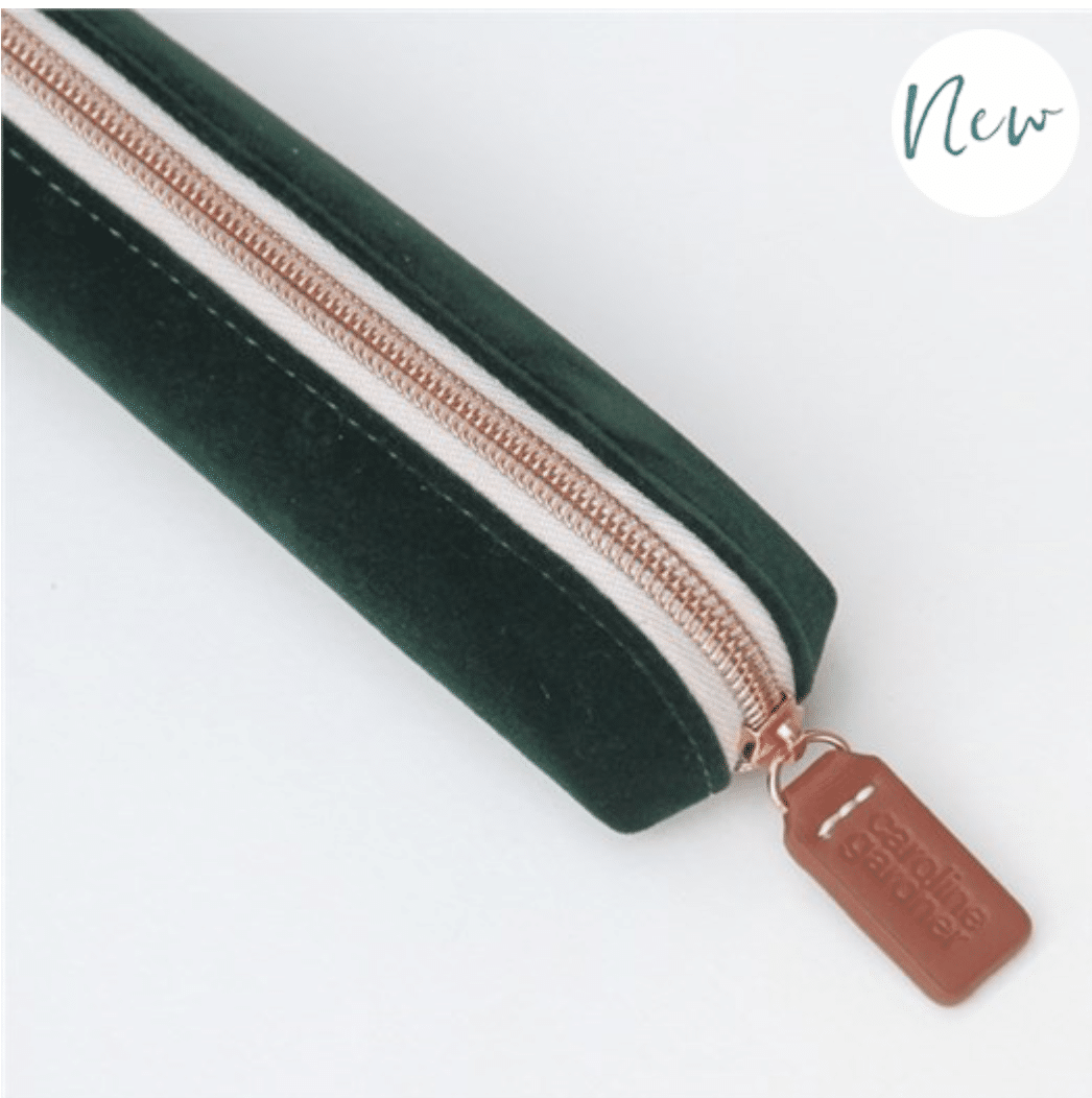 Green Velvet Small Pencil Case