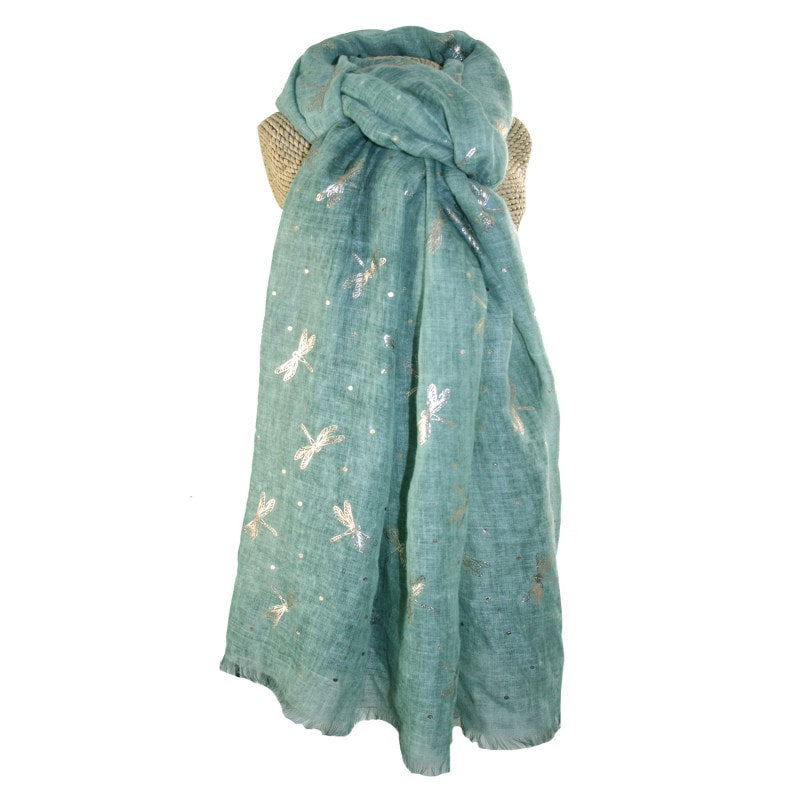 LUA Rose Gold Dragonflies Scarf Lightweight - Various Colours