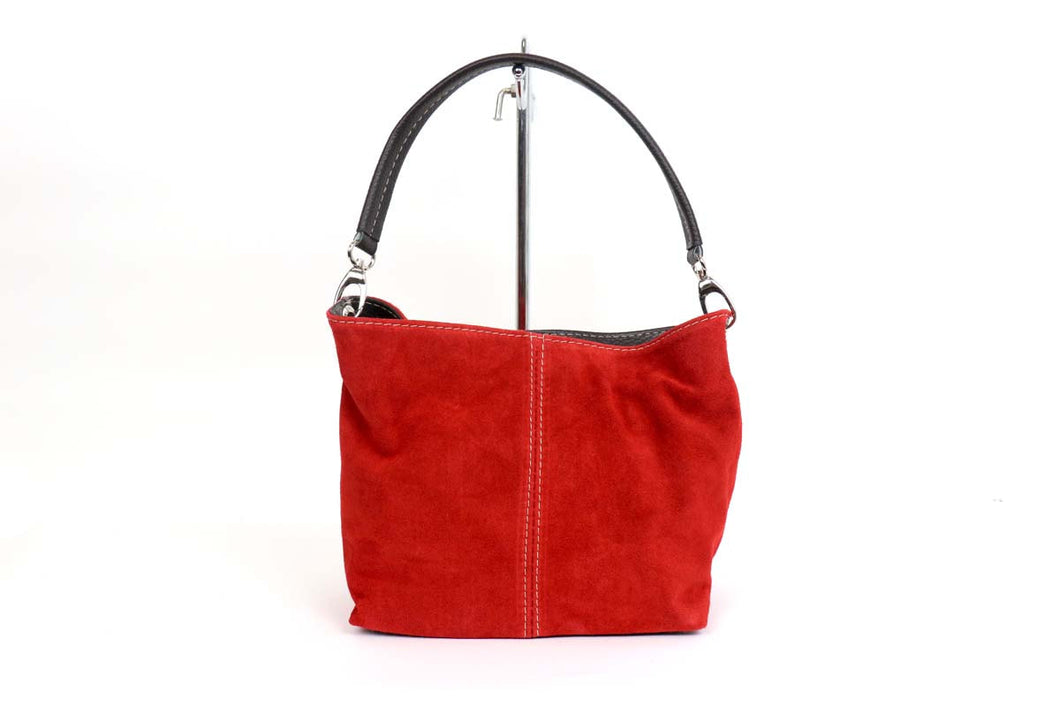 Leather Suede Handbag-Red - Little Gems Interiors