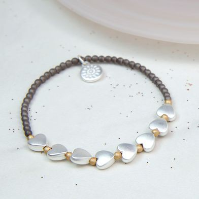Grey Bead Silver Hearts Bracelet - Little Gems Interiors