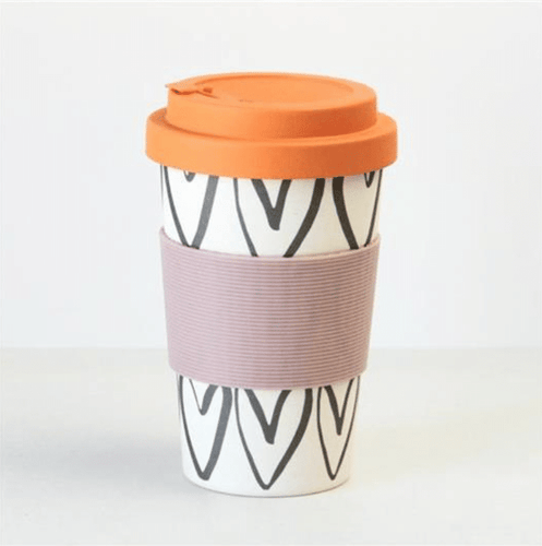 Hearts Outline Bamboo Coffee Cup - Little Gems Interiors