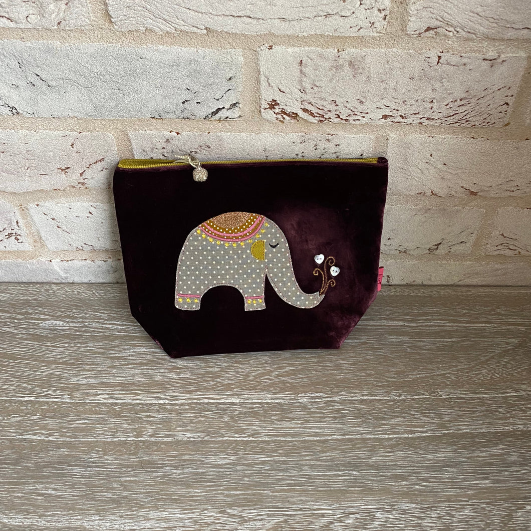 LUA Elephant Burgundy Large Cosmetic Bag/Purse