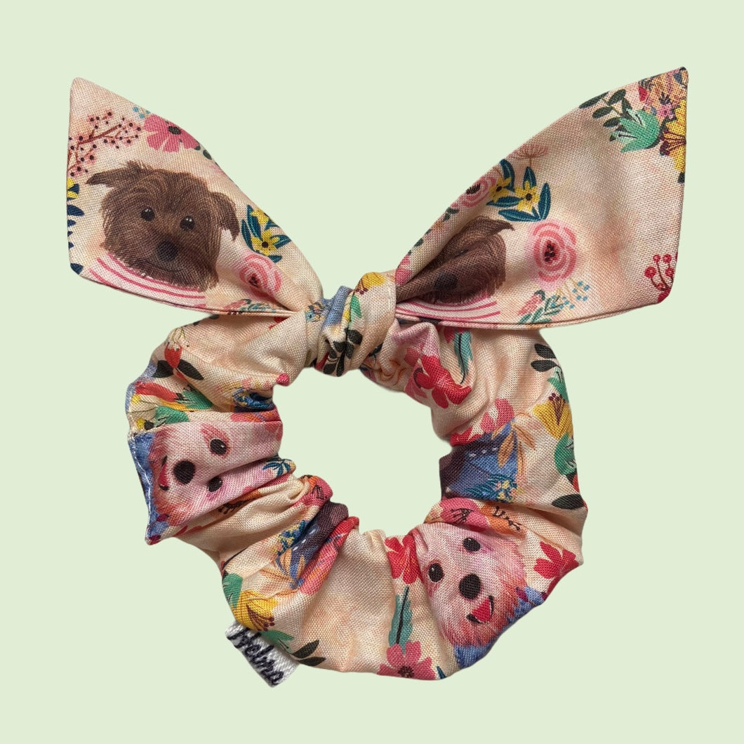 Scrunchie Perritos con flores - Mini Lazo