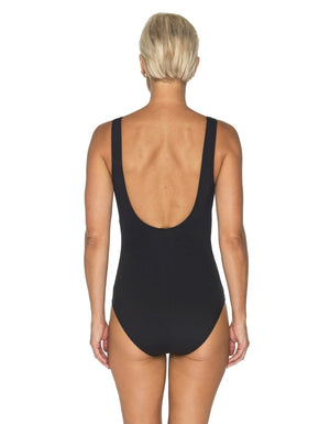 TOGS flattering Classic Black ruched twist one piece.
