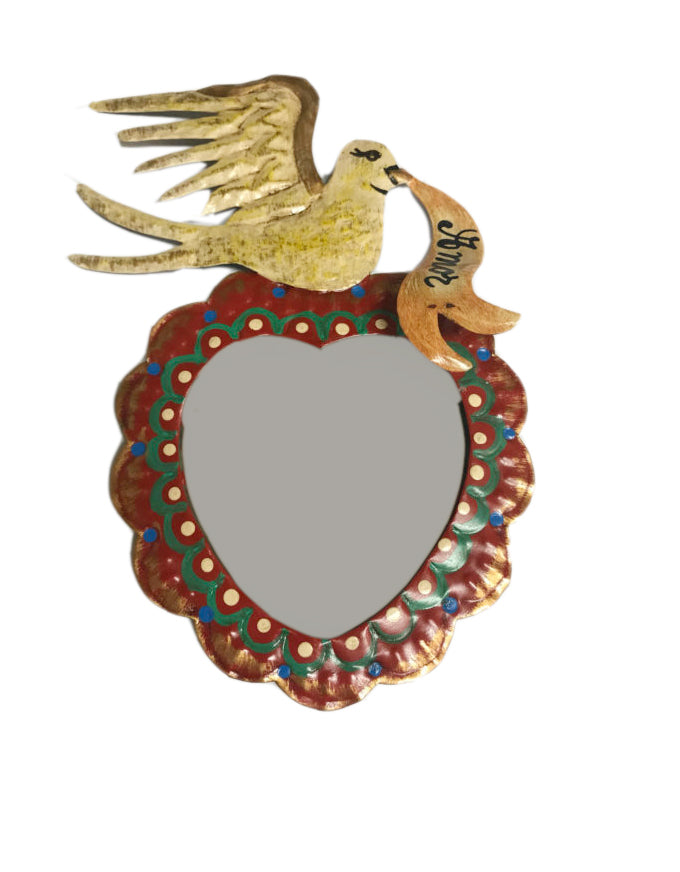 Heart Tin Mirror with Dove
