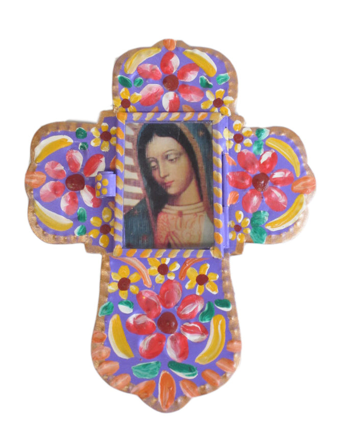 Tin Cross with Virgin Guadalupe