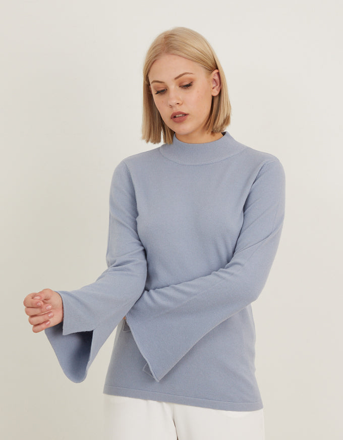 The Fitted Bell Sleeve Knit in Baby Blue, from Chalice.