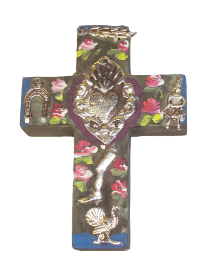 Mini Cross with Milagros Antique Style