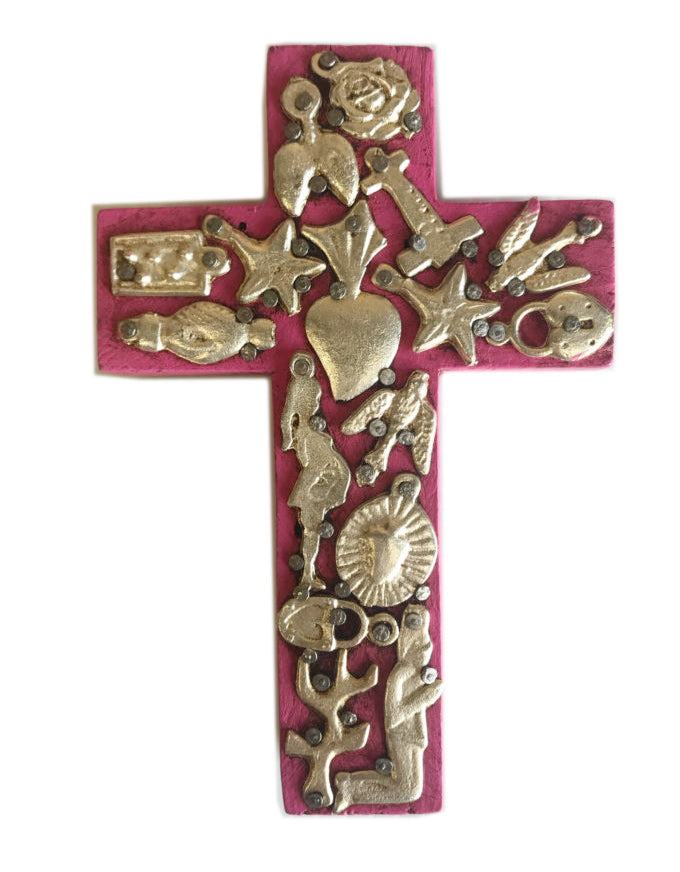 Small Wooden Cross with Milagros