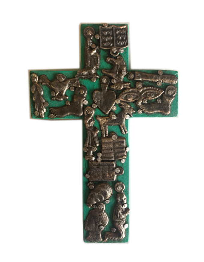 Small Cross with Milagros Turquoise