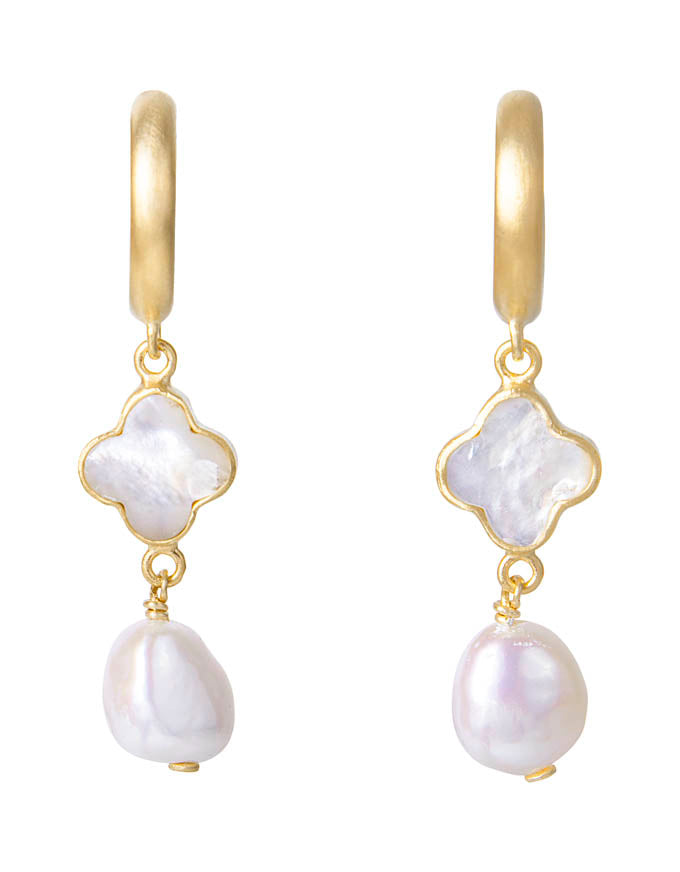 Mother of Pearl Drop Earrings Gold