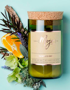 Wine Bottle Candle - Oakmoss & Sage