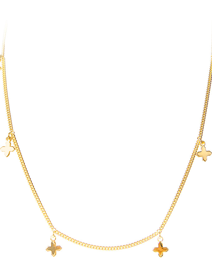 Shield Charm Necklace Gold