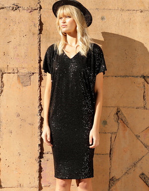 Antilles Batwing Dress Black Sequin