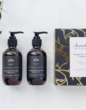 Bergamot, clary sage & geranium Wash & Cream Twin Set