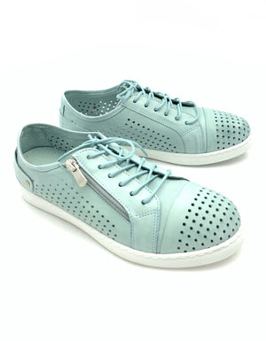 Cabello EG17 - Mint  An easy everyday sneaker style, with pin-punched upper, laces and a zip feature.