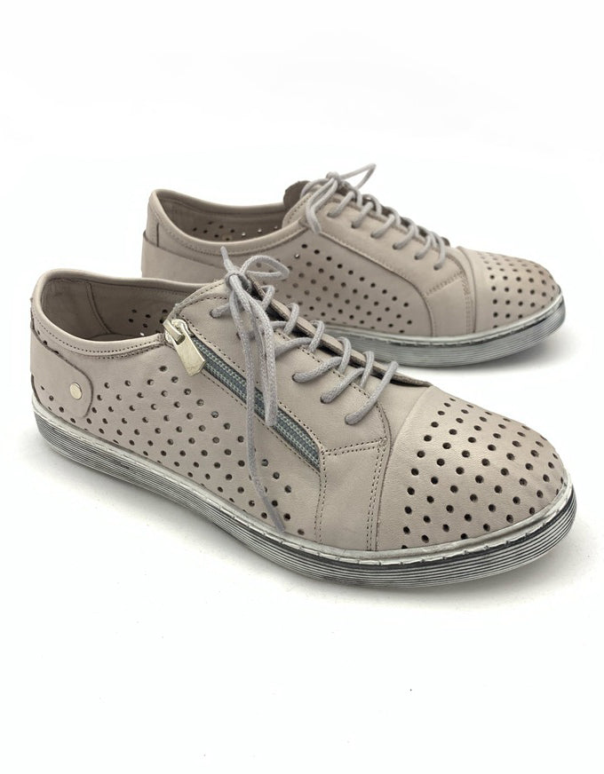 Cabello EG17 - Taupe.  An easy everyday sneaker style, with pin-punched upper, laces and a zip feature.