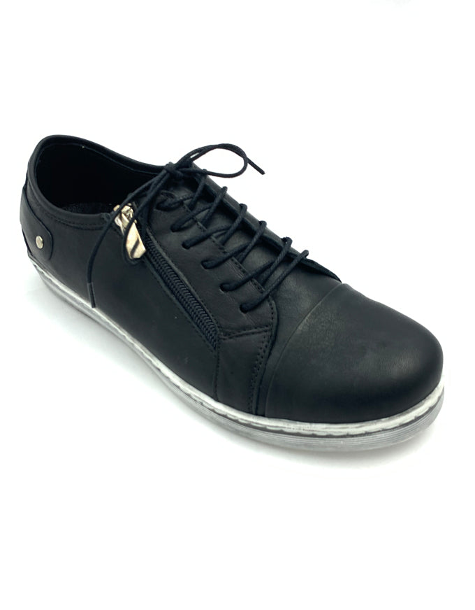 Cabello EG18 - Black.  An easy everyday sneaker style, with solid leather upper, laces and a zip feature.