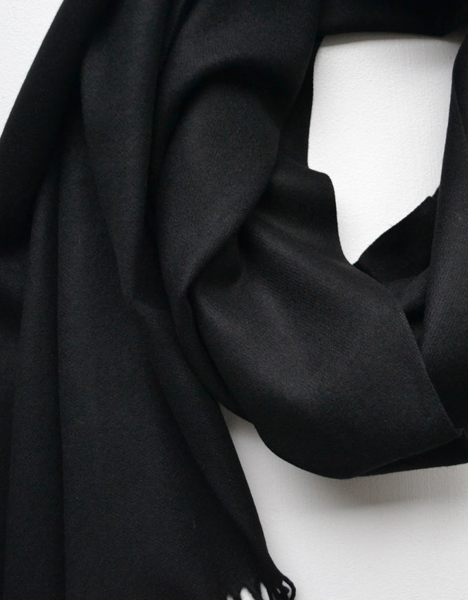 The Cashmere Scarf in Black. A beautiful soft cashmere scarf, with fringed ends.