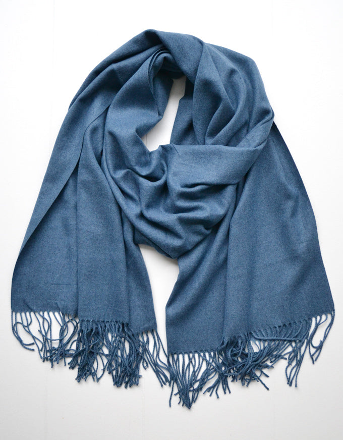 The Cashmere Scarf in Jean Blue.  A beautiful soft cashmere scarf, with fringed ends.