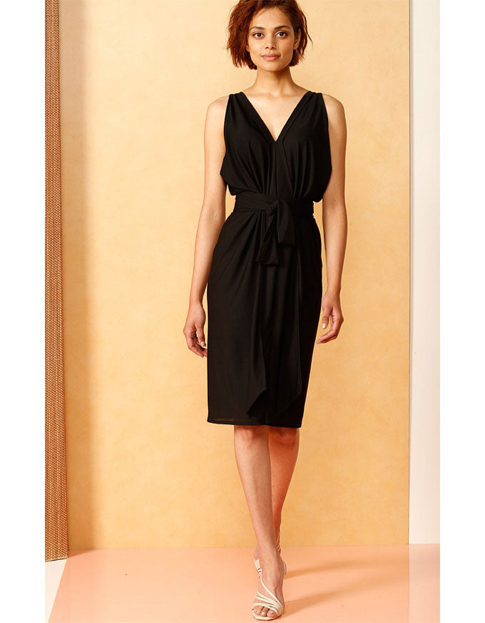 The Column Drape Dress in Black.