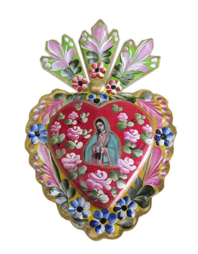 Tin Heart with Virgin.  Handmade in Mexico