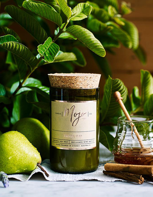 The Mojo Reclaimed Wine Bottle Soy Candle - French Pear