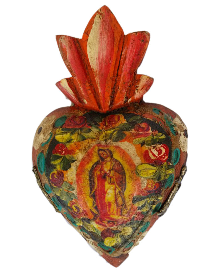 Mini Heart with Guadalupe Virgin.  Handmade in Mexico