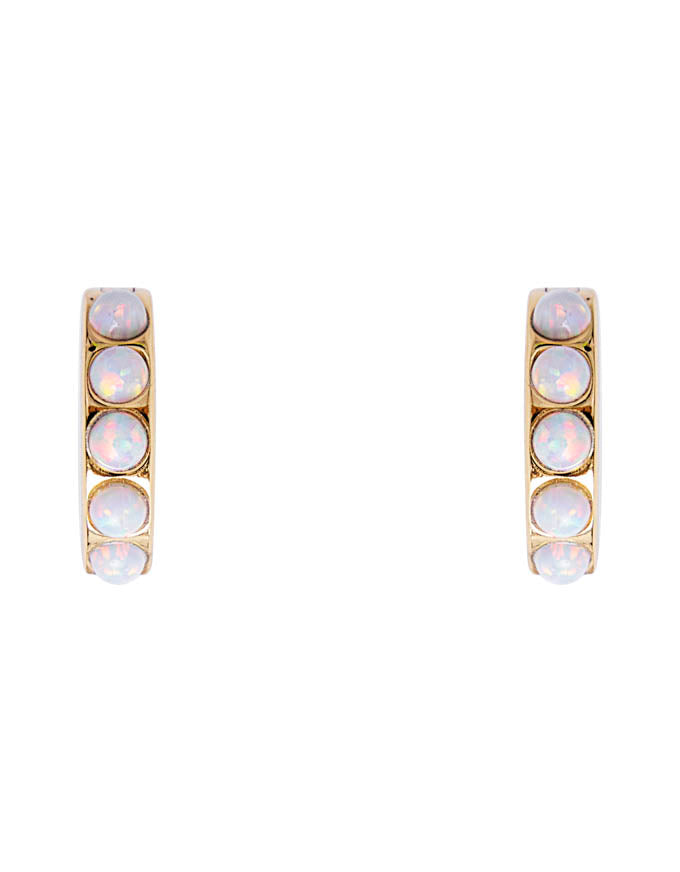 Ivory Opal Crystal Huggies Gold
