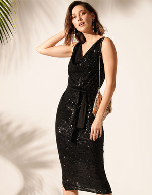 The Martinique Reversible Dress in Black Sequin.