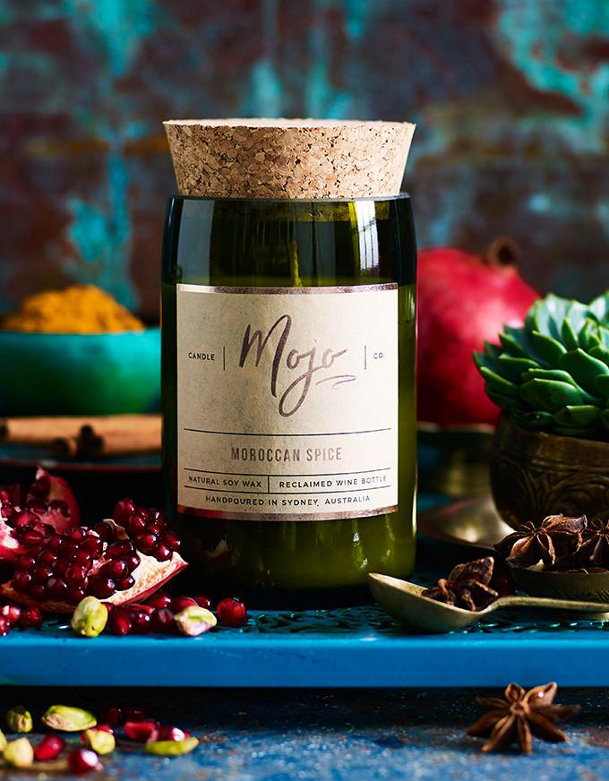 The Mojo Reclaimed Wine Bottle Soy Candle - Moroccan Spice.
