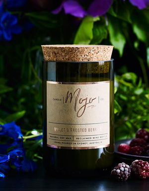 The Mojo Reclaimed Wine Bottle Soy Candle - Violet & Frosted Berries