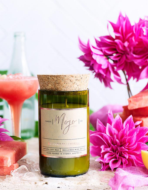 The Mojo Reclaimed Wine Bottle Soy Candle - Watermelon Lemonade