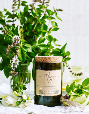 The Mojo Reclaimed Wine Bottle Soy Candle - Wild Basil & Cucumber