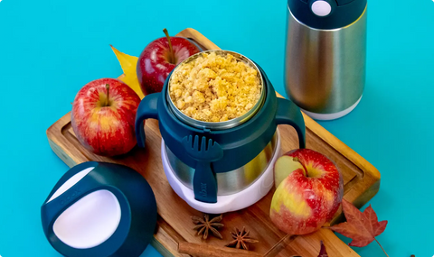 spicy apple crumble in insulated food jar