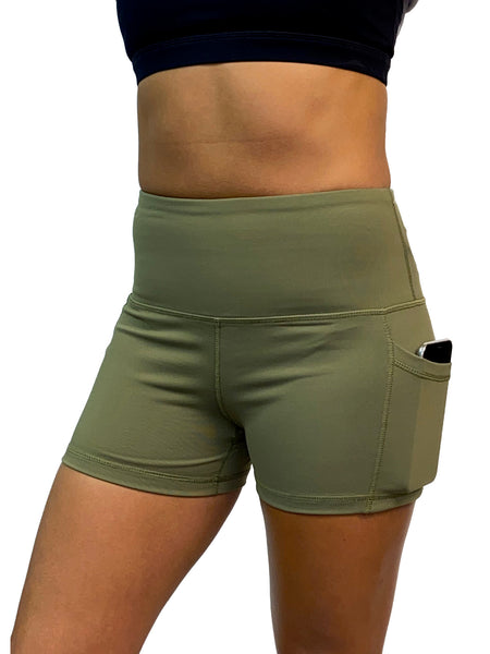 "High Waist Yoga Shorts 3"" Inch Inseam With Side Pockets"