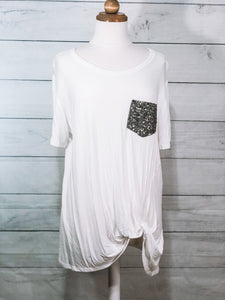 Ivory Glitter Pocket Top