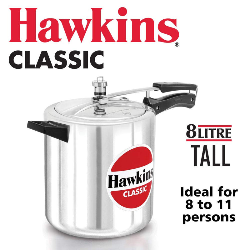 HAWKINS Classic CL8T 8-Liter New Improved Aluminum Pressure Cooker, Small, Silver