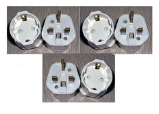 Ckitze GP-023 Schuko European to UK Grounded Plug Adapter (3 Pack)