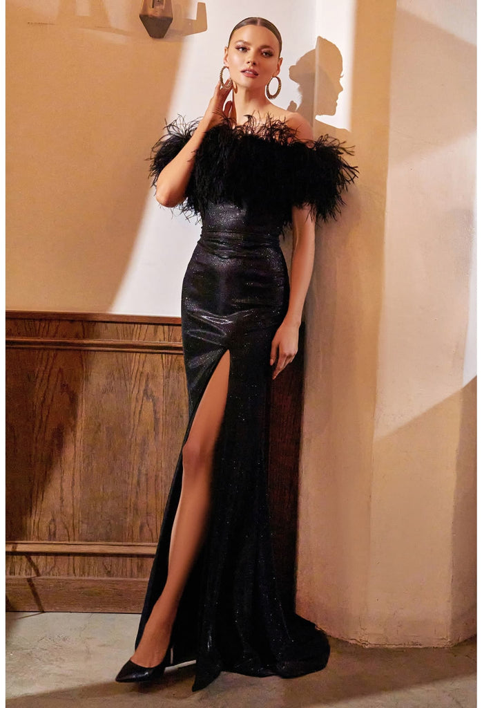 The ultimate party dress, this gown is form-fitting in silhouette and cut from a sparkle stretch jersey trimmed with a frothy feather boa around its strapless bodice.