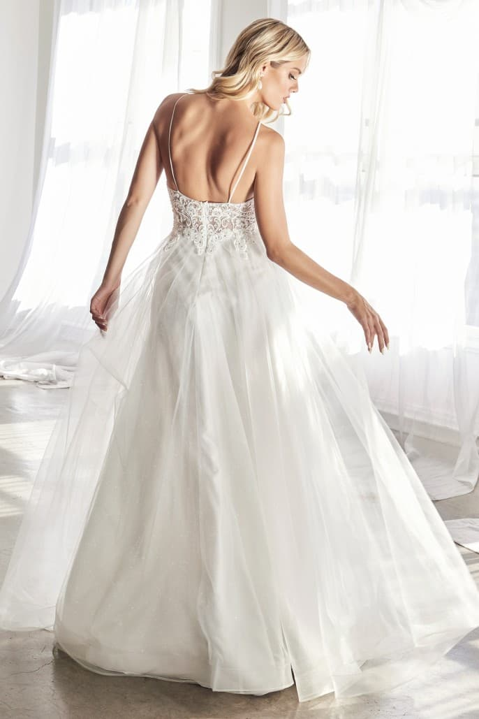 KC897W TULLE LAYERED BRIDAL GOWN A-line off-white gown with scroll embroidery and embellished bodice details.